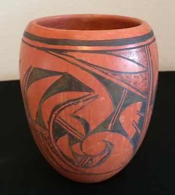 "Hopi Redware Pot, 6"", Handmade by Virginia Tootsie 1985"