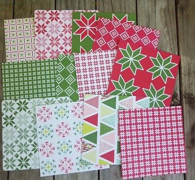 """Stampin up 6×6"""" paper share Quilted Christmas 12 Sheets"""