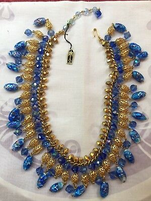 RARE TRIFARI  Aqua Blue crystal & murano glass  bead fringe NECKLACE
