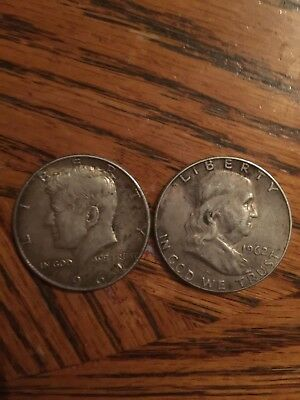 1962 Franklin And 1964 kennedy  Silver Half Dollars Check Pictures For Condition
