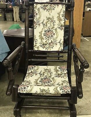 1800's Fully Restored Lincoln Rocker New Tapestry Floral Fabric Antique Wood