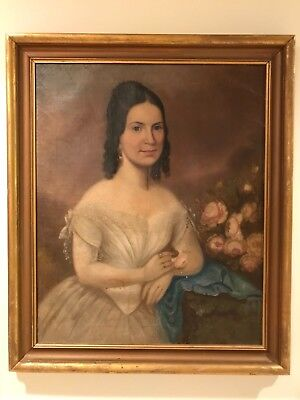 Antique 1870s Portrait Oil Painting of Southern Lady Woman Framed 19th Century G