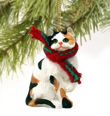 SHORTHAIRED CALICO CAT CHRISTMAS ORNAMENT HOLIDAY Figurine kitten gift