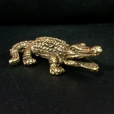 Alligator Crocodile figurine Statue brass Power animal Lucky Wealth Rich DBA