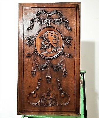 Gothic Warrior Medaillon Panel Antique French Hand Carved Wood Salvaged Carving
