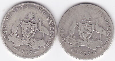1917 Florin King George V 92.5% Silver Coat of Arms  x 2