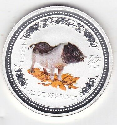 2007 Year of the Pig 1/2oz 99.9% Silver Coloured Edition Coin Only