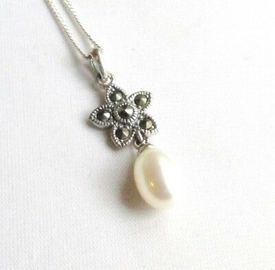 Art Deco style solid silver marcasite & pearl gemstone necklace