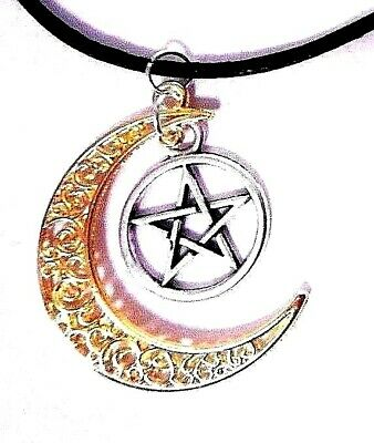 PENTACLE CRESCENT MOON circle wiccan witch magic necklace pendant pentagram A2