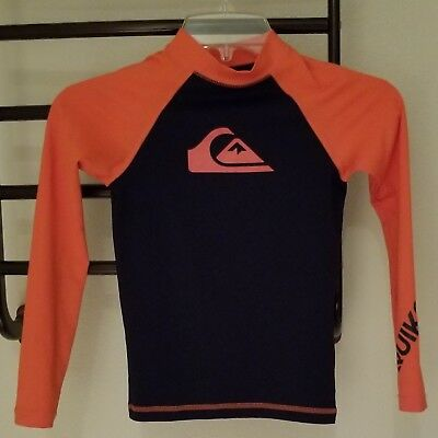 QuikSilver Swim Rash Guard Blue/Orange, long sleeve,  size 8 (xs)
