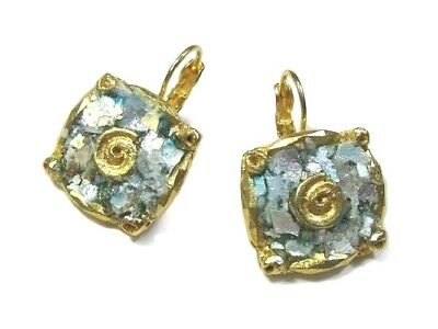 Roman Glass Earrings Ancient Fragments 200 B.C Gold Plated Holy Land Israel.