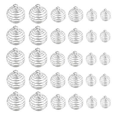 30Pcs Silver Plated Spiral Bead Cages Pendants for Jewelry Making 3 Sizes @^