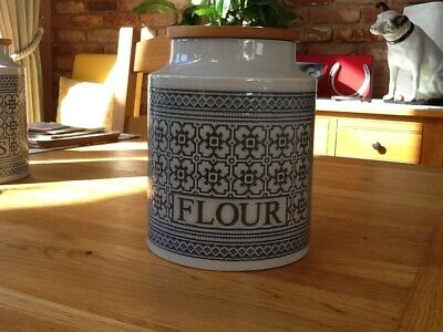 Hornsea Iconic Tapestry Design Blue Grey Large Flour Jar Retro 1970's