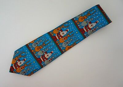 Vintage Tie Father Christmas Reindeer Rudolph Red Nose Polyester 9.5 Excellent
