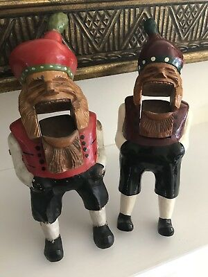 Pair of Vintage Black Forest Hand Carved Gnome Nutcrackers