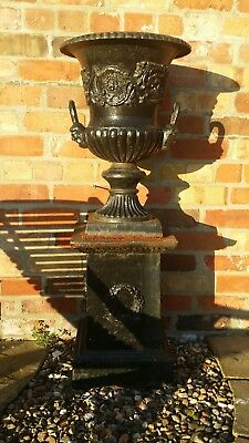 2  x  French matching Cast iron Garden Urn Planter pots heavy old pair