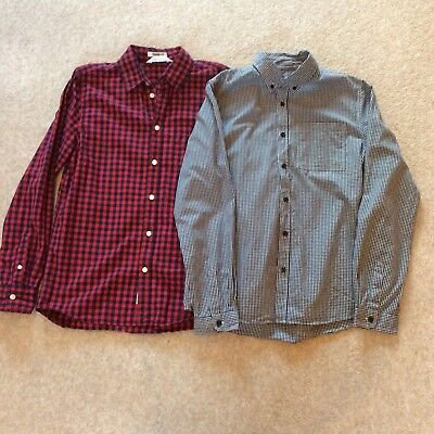 H&M Primark 2 Boys Check Black White Blue Red Long Sleeve Shirt Age 13 14 Years