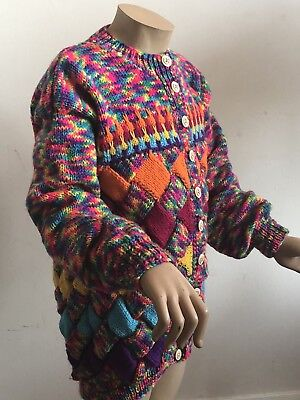 "Size 30"" Chest True Vintage 1990S Handknit Bright Colourful Girls Child Cardigan"