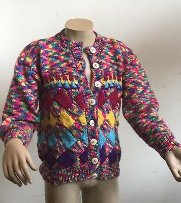 "Size 24"" Chest True Vintage 1990S Handknit Bright Colourful Girls Child Cardigan"