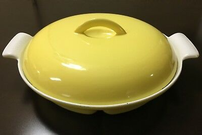 Vintage Descoware Yellow and White Enamel Divided Pan w/ Lid Cast Iron Belgium