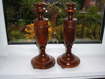 """vintage 1930's turned oak Olde England style pair of candlesticks ~ 11.5"""" tall"""
