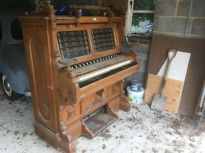 Old Peddle Organ Smith American Boston USA Carved WoodFor Restoration