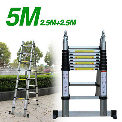 5M Telescopic Aluminum Step Ladders Telescoping Extension Ladder Multifunk 150kg
