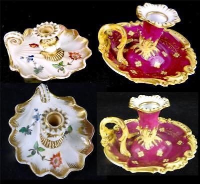 C1825 Two Antique English Porcelain Candle Holders Chambersticks