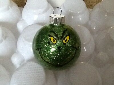 Dr. Suess The Grinch Face Custom Made Glass Christmas Ornament Tree Decoration