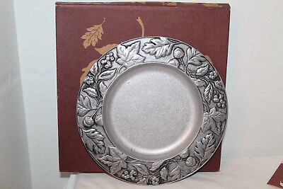 """New Longaberger 8"""" Metal Plate Or Candle Holder, Box, Card, Falling Leaves"""