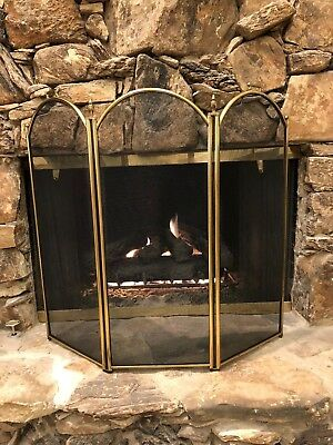 Beautiful Antique Vintage Bronze Brass Fireplace 3  Panel Firescreen Handles