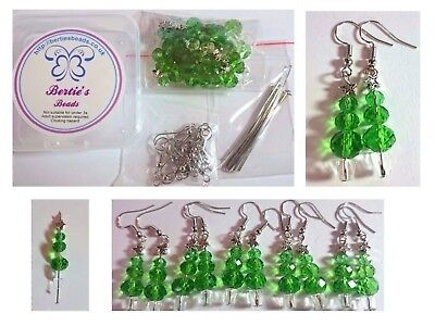Berties Beads Glass Christmas Tree Earrings Kit  5 pairs of earring  Green