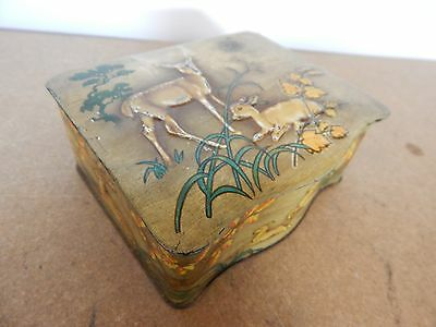 Art Deco Stag and Doe Figurative bow front sweet tin 1930's-40's 15cm x12cm x7.5