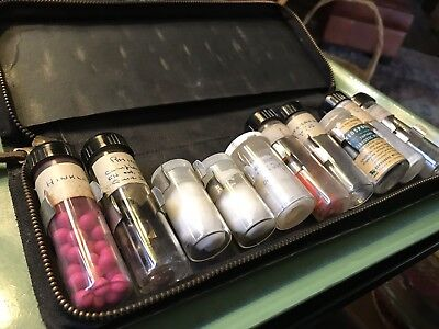 Antique Apothecary Doctor's Leather Case Medicine Glass Vials Bottles Kit No Med