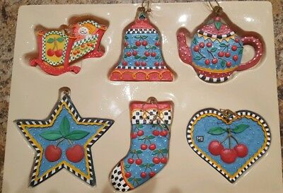 Six Piece Mary Engelbreit Cherry Christmas hand painted Ornaments NOS