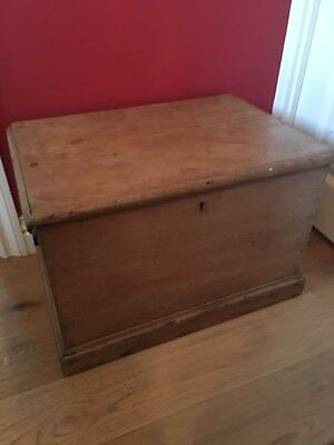 Antique Vintage Pine Trunk Chest Box Or Coffee Table