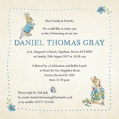 Personalised Peter Rabbit Invitations Christening Birthday Baby