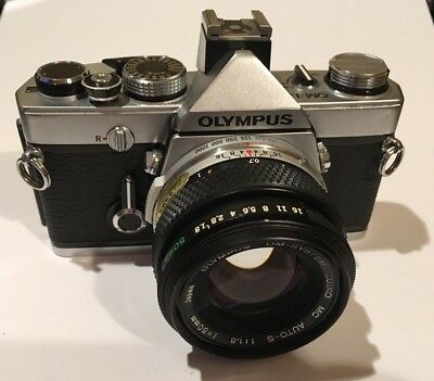 Excellent Olympus OM1 N 35mm SLR Film Camera with 50mm lens Kit NR