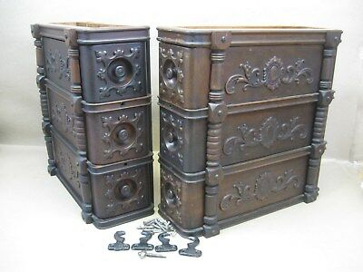 Antique Singer Treadle Sewing Machine Applied Carvings Triple Drawer Set w/ Key