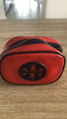 d8023948691 TORY BURCH RED and Navy Blue Patent Small Classic Cosmetic Case ...