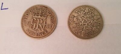 Old british silver coins. Sixpences