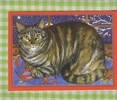 TABBY CAT In Winter Night Window Christmas Card