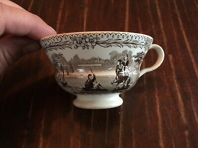 Antique Early 19th Century English Brown Transferware China Teacup