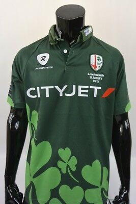 b9a8eecd519 RUGBYTECH London Irish Jersey Rugby Shirt St.PATRICKS Party IRELAND SIZE L