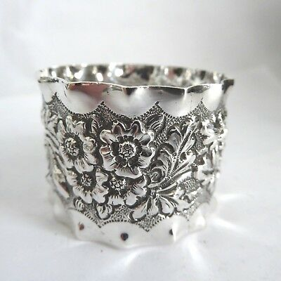 Fine Antique Floral Repousse Napkin Ring Silver Plated Gleaming Intial  Emg 1907