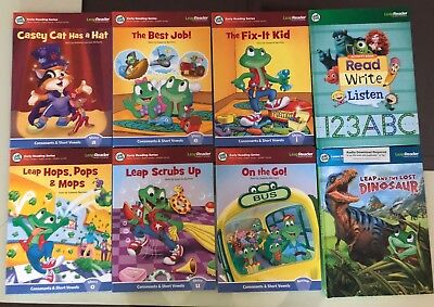 Lot of 8 Leap Frog Leap Reader Interactive Books - Early Reading Series Vowels
