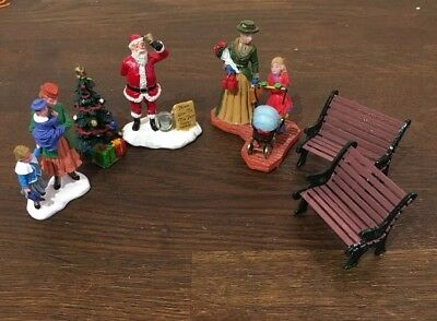 Lemax christmas figures Shopping Santa Tree Pram Family Bench - 6 Figures