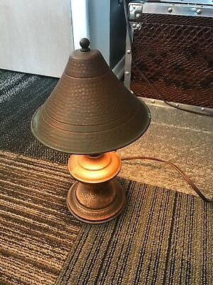 Vtg Antique Metal Ornate Lamp Small table Copper