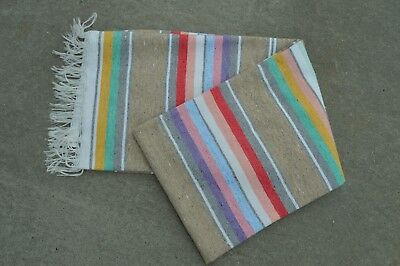Mexican Blanket ALL COTTON Serape in Oatmeal PREMIUM Handwoven Throw Yoga
