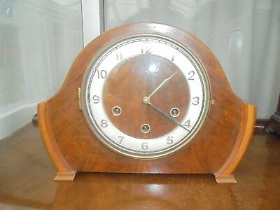 Mid 20th Century Burr Walnut, Eight Day Mantle Clock. Lovely Condition, Smiths.